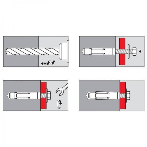 Chevilles d'expansion Inox-A4 316 crochet anti-rotation