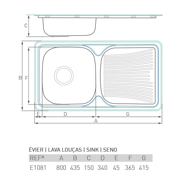 Évier à encastrer CASCADE 1 cuve + égouttoir 80 x 45