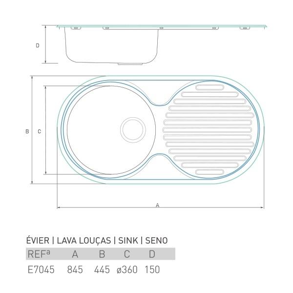 Évier à encastrer UNIVERSO 1 bac + égouttoir 85 X 45