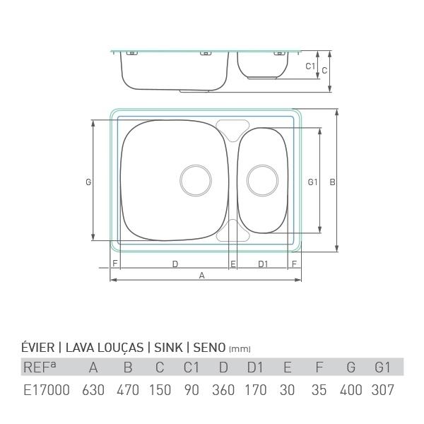 Évier inox à encastrer MARÉE 1 ½ bac 60 x 50