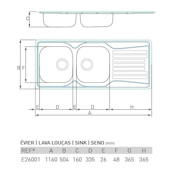 Évier inox à encastrer CONTOUR 2 bacs + égouttoir 115 X 50