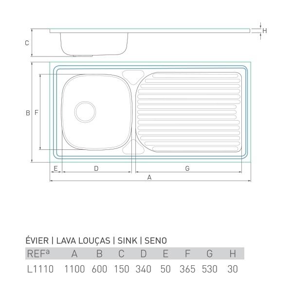Évier inox à poser HORIZON 1 bac + égouttoir 110 X 60