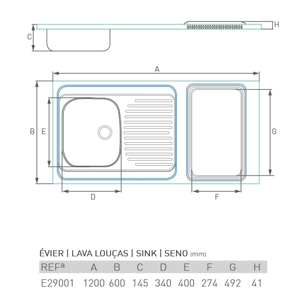 Évier inox SOLEIL 120 X 60