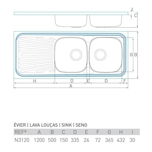Évier inox à poser NOUVELLE 2 bacs + égouttoir 120 X 50