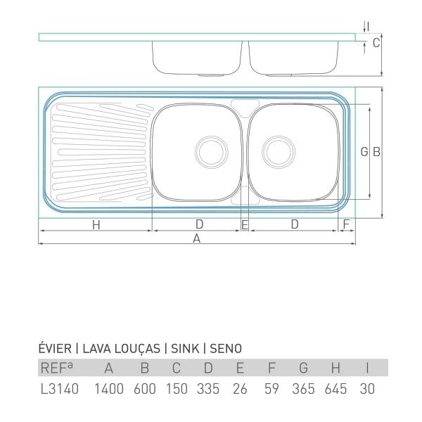 Évier inox à poser NOUVELLE 2 bacs + égouttoir 140 X 60