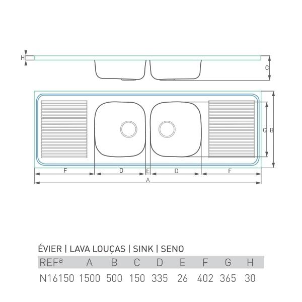 Évier inox à poser PRO DOUBLE 2 bacs + 2 égouttoirs 150 X 50