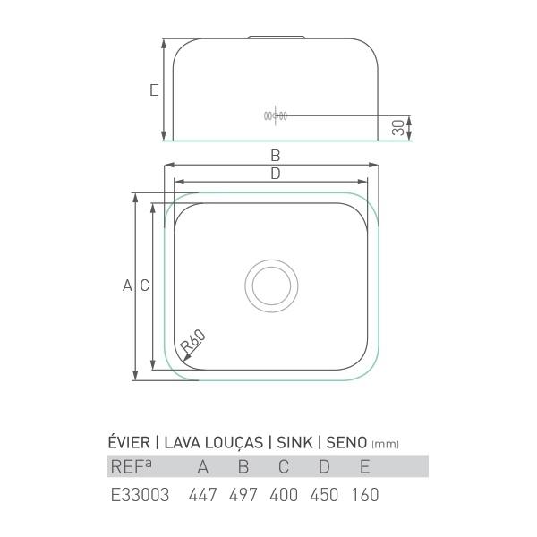 Évier inox sous plan AGATE 1 bac 45 X 40 X 16