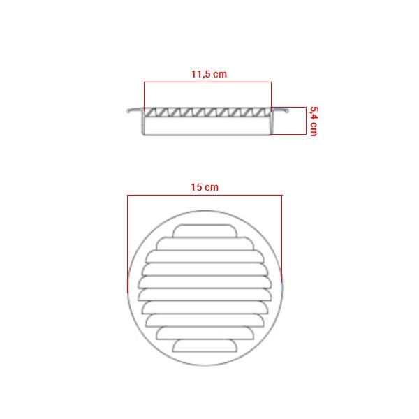 Grille d'aération à encastrer aluminium Ø120