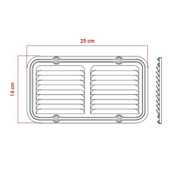 Grille d'aération en aluminium 14x25