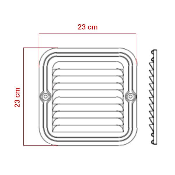 Grille d'aération en aluminium 23x23