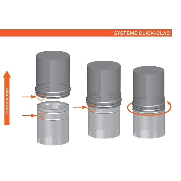 Tuyau 33CM régulateur tirage - conduit cheminée double paroi
